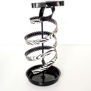 Zebra Striped Metal Spiral Earring Jewelry Holder